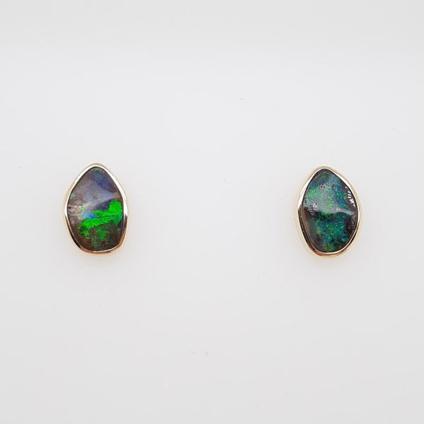 Boulder Opal 1.7ct.Earrings set in 14K Y GOLD