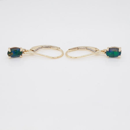 Triplet Opal Earrings set in 9K Yellow Gold   28x Diamond 0.2Ct 6x4mm