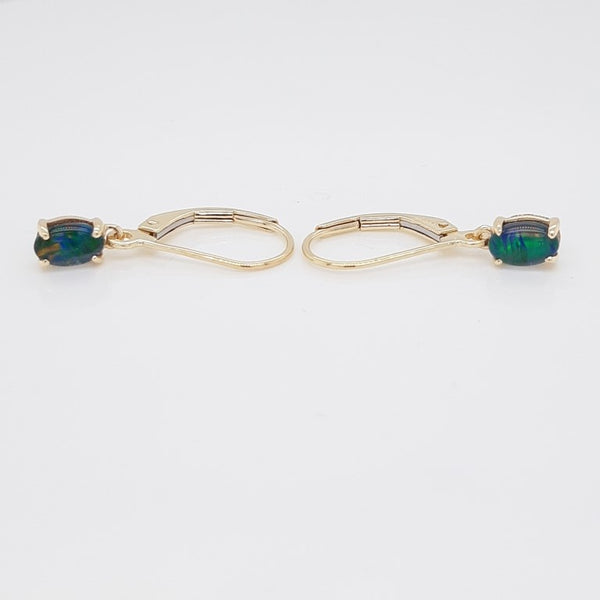 Australian Opal Triplet 6 x 4 mm Earrings set in 14 Karat Yellow Gold