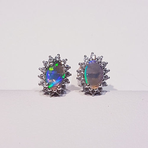 Black Opal Earrings set in Sterling Silver with Cubic Zirconia