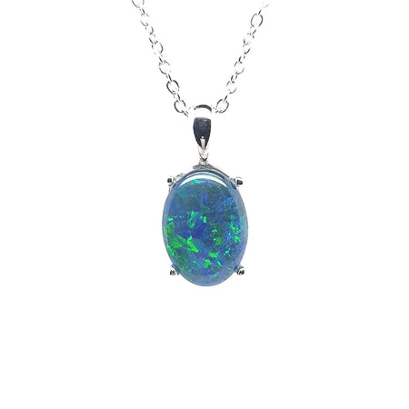 Triplet Opal Pendant set in St Silver     10x8mm
