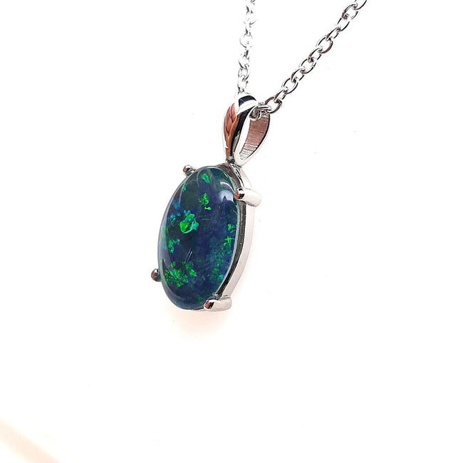 Australian Opal Triplet 14 x 10 mm Pendant set in Stainless Steel