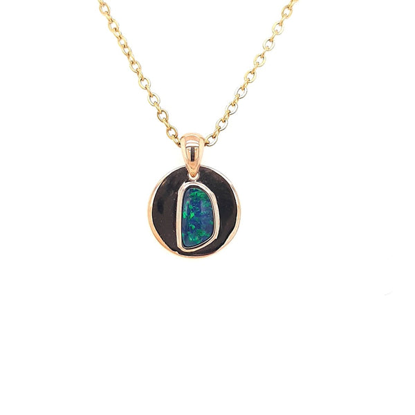 Australian Black Opal 0.45 Carats Pendant set in 10 Karat Rose Gold