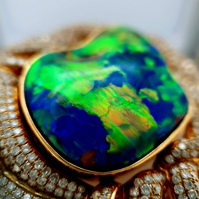 Black Opal Pendant set in 18 Karat Yellow Gold 17.20 carats with 612 x diamonds total 3.82 carats