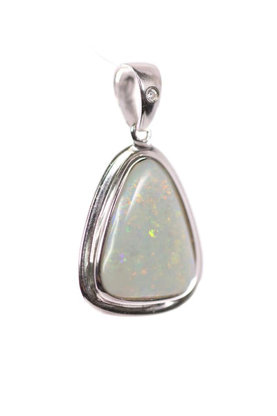 Black Opal Pendant set in Sterling Silver 4.00 carat  with Cubic Zirconia