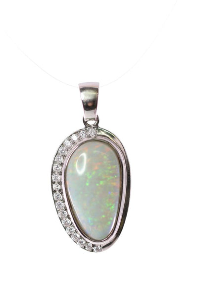 Australian Black Opal 4.75 Carats Pendant set in 925 Sterling Silver with Cubic Zirconia