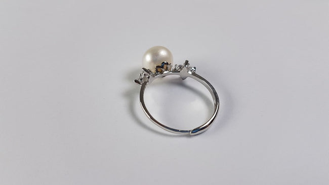 Pure Pearl Ring set in St Silver     10mm