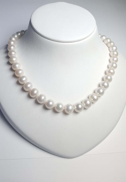 PP Pearl Necklace - White AAA 11-12mm with 14K Yellow Gold clasp