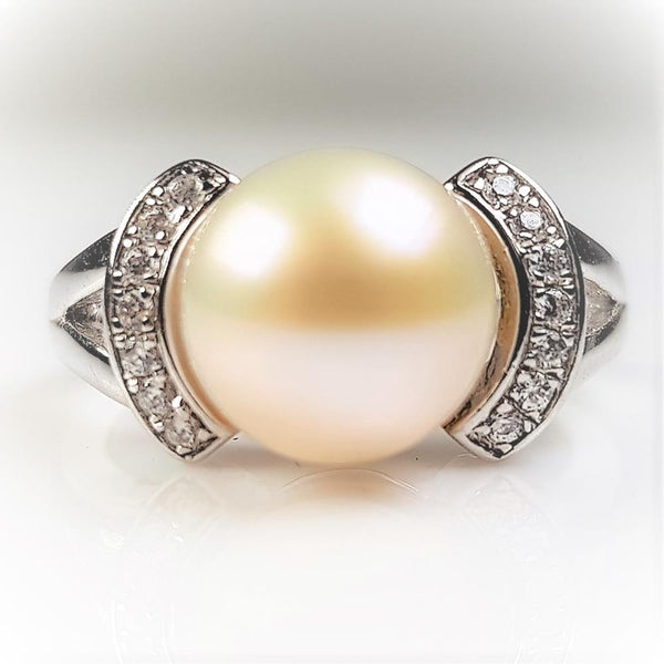 Pure Pearl Ring set in St Silver     9-10mm
