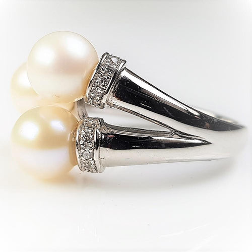 Pure Pearl Ring set in St Silver     7-8mm