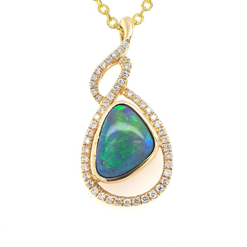 Black Opal Pendant set in 14 Karat Yellow Gold 1.8 carats with 49 x diamonds total 0.24 carats