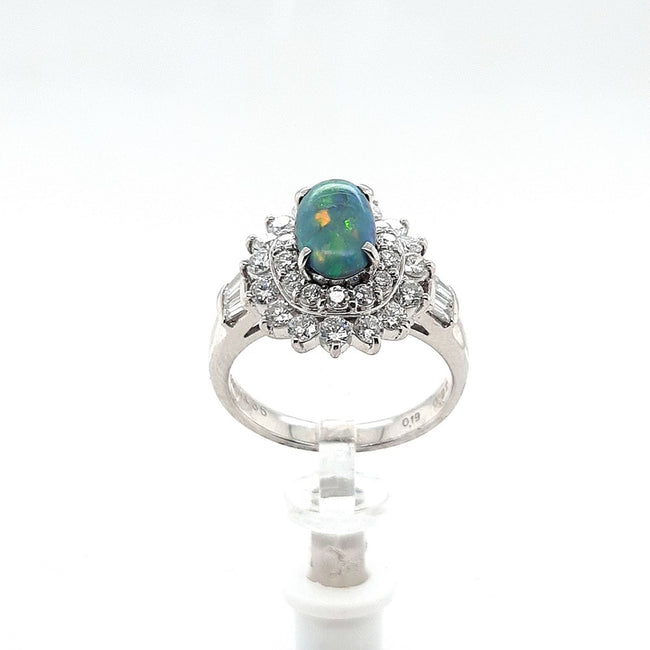 Black Opal Ring set in Platinum 1.04 carats with 36 x diamonds total 1.11 carats