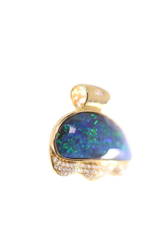 Boulder Opal Pendant set in 18K Yellow Gold 18.6Ct  62x Diamond 0.422Ct