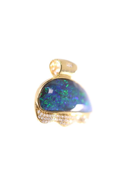 Boulder Opal 18.6ct Pendant set in 18K Yellow Gold with 62 Diamonds TW=0.422ct