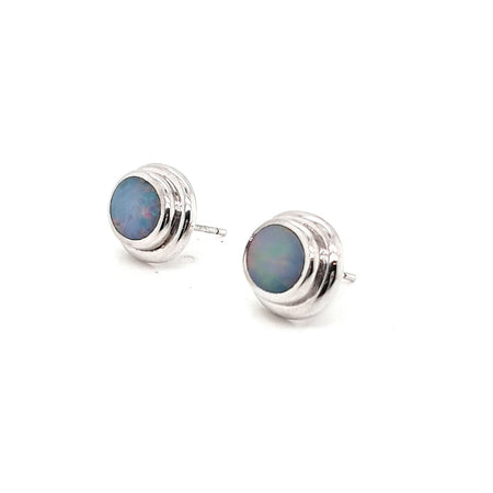 Boulder Opal 2ct.Earrings set in 14K W GOLD