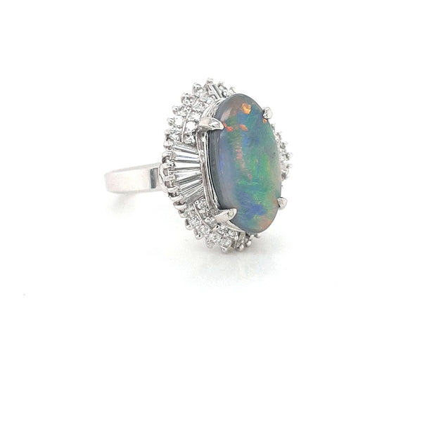 Australian Black Opal 3.40 Carats Ring set in Platinum PT 900 with  x G-H/Vs1-Si1 Diamonds Weighing 1.11 Carats