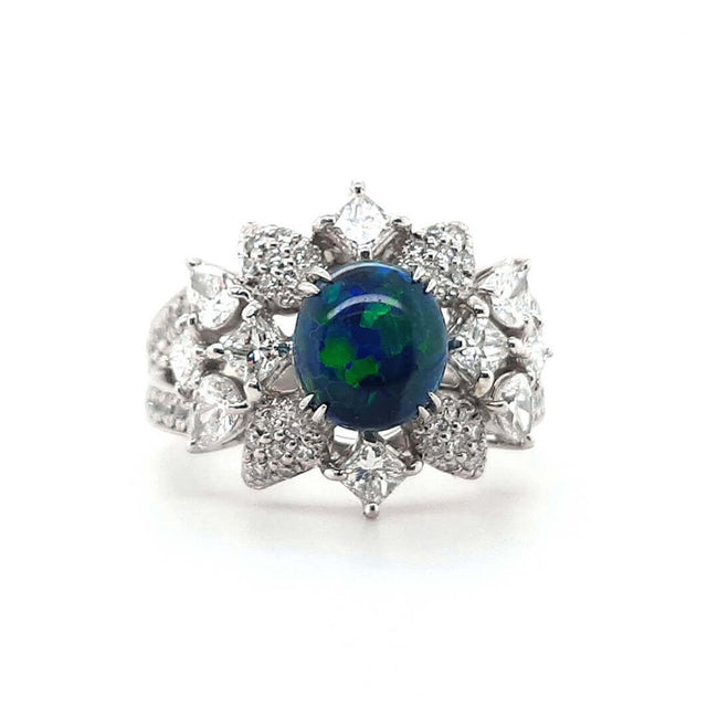 Black Opal Ring set in Platinum 1.40 carats with 34 x diamonds total 1.18 carats