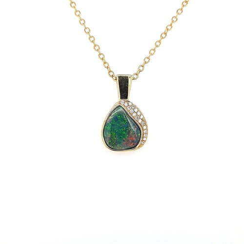 Black Opal Pendant set in 14 Karat Yellow Gold 2.60 carats with 18 x diamonds total 0.1 carats