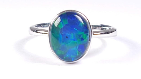 Australian Opal Triplet 10 x 8 mm Ring set in 925 Sterling Silver