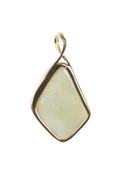 White Opal  Pendant set in 14 Karat Yellow Gold 14.00 carat