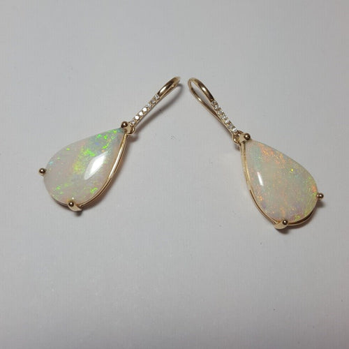 White Opal 5.6ct set in 14K Yellow Gold Earrings with 14 Diamonds TW=0.056ct