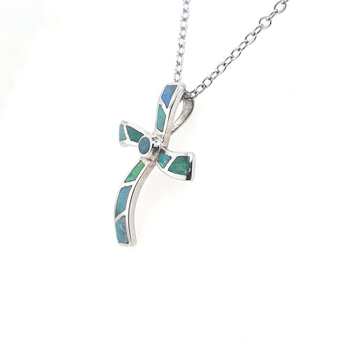 Opal Inlay Cross Pendant set in 925 Sterling SIlver