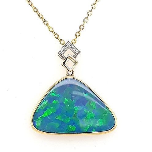 Doublet Opal Pendant set in 14K Yellow Gold 15.1Ct 5.56 7x Diamond 0.05Ct 21mm