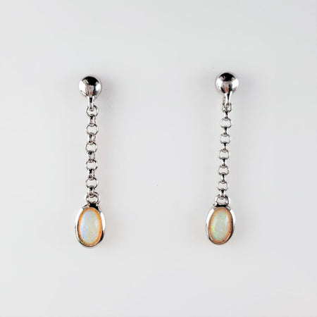 White Opal Earrings set in 14K Yellow Gold 0.15Ct