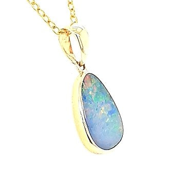 Australian Opal Doublet 16 x 11 mm Pendant set in 14 Karat Yellow Gold  with 1 x G-H/Vs1-Si1 Diamond