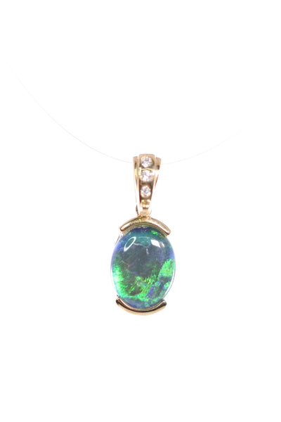 Opal Triplet Pendant 10x8mm set in 9K Yellow Gold A+A+  Blue-Green with 3 Di total 0.028ct