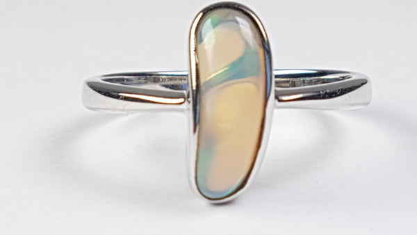 O Inlay Opal set in hard Sterling Silver Ring