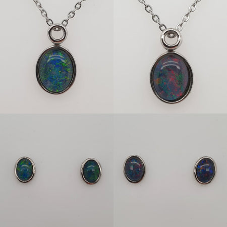 Australian Opal Triplet 6 x 4 mm Pin set in Stainless Steel