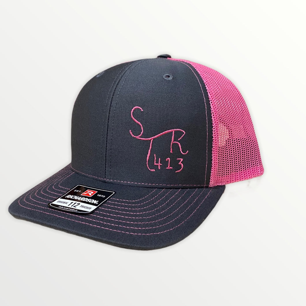 Stronger 413 Hat - Richardson 112 Charcoal/Neon Pink