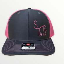 Load image into Gallery viewer, Stronger 413 Hat - Richardson 112 Charcoal/Neon Pink