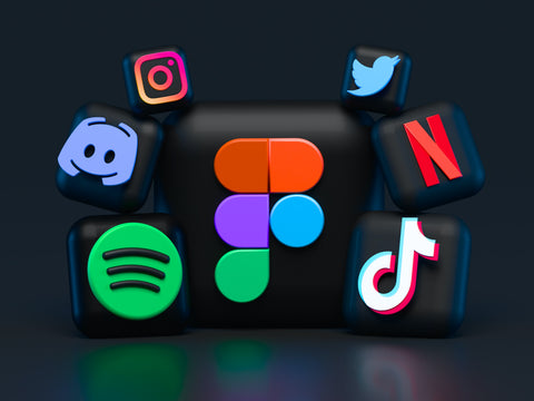 The logos of various social media companies such as Instagram, Twitter and Spotify