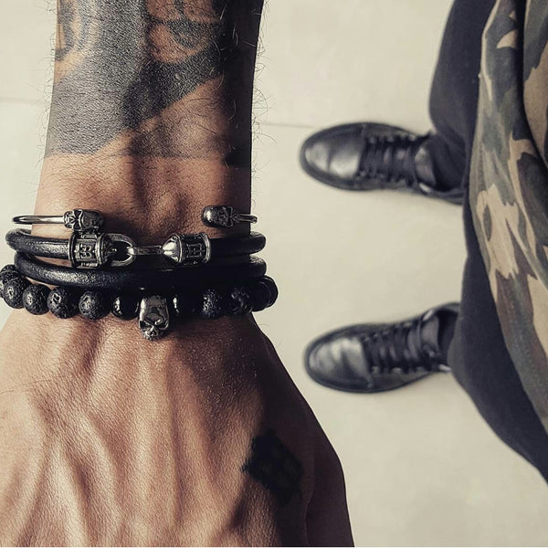 Black ruthenium leather bracelet