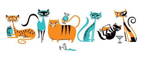Cocktail Cats I - Turquoise & Orange