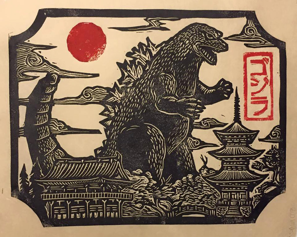 Godzilla in Japan linocut print