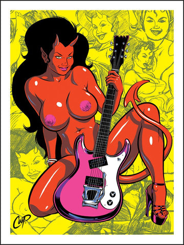 Devil Girl With Guitar Bikini