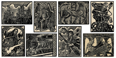 Harry Potter lino cut prints (set of 8)