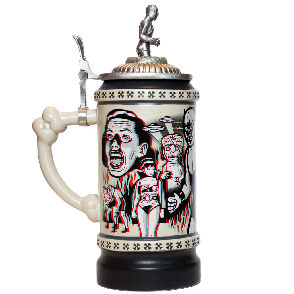 Lucha Libre Stein with metal lid