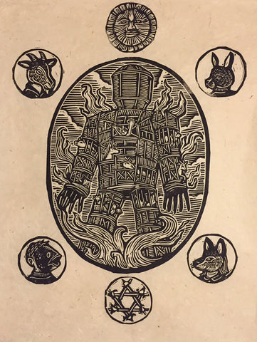Wicker Man block print