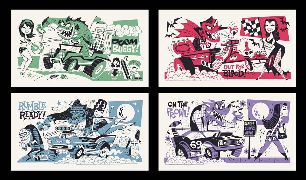 Moto Monsters (set of 4 prints)