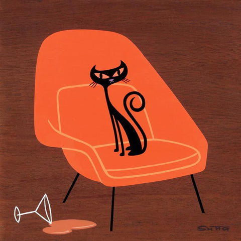 Suspicious Cat (In Orange Womb Chair)