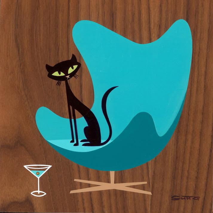 Suspicious Cat (In Turquoise Egg Chair)