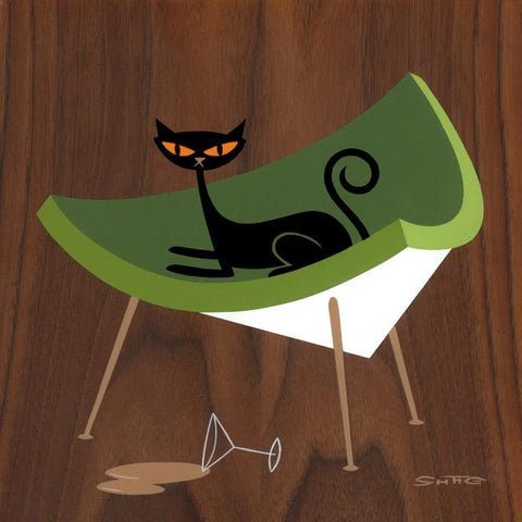Suspicious Cat (In Green Coconut Chair)