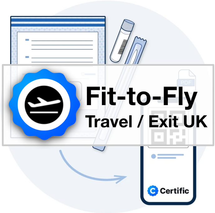 FIT TO FLY / TRAVEL FROM UK: Certific Home-Sampled Test + Certificate (Lab PCR) + Free Shipping to you. Choose Lab-return option.