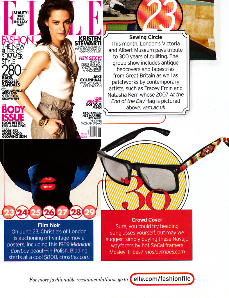 Elle Magazine features Jenny Dayco beaded sunglasses for Mosley Tribes