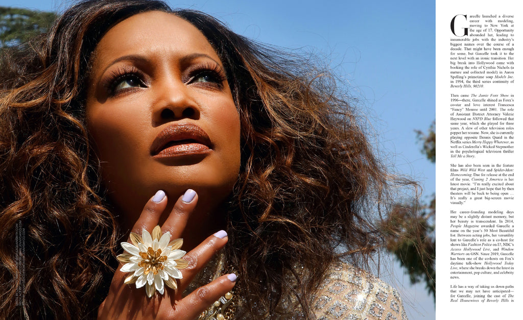 Garcelle Beauvais styled by and wearing jewelry by Jenny Dayco