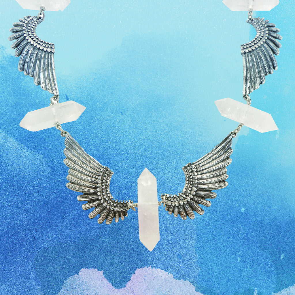 Quartz point and antique silver wing parendi necklace by Jenny Dayco